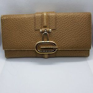 Gucci pebbled wallet brown leather